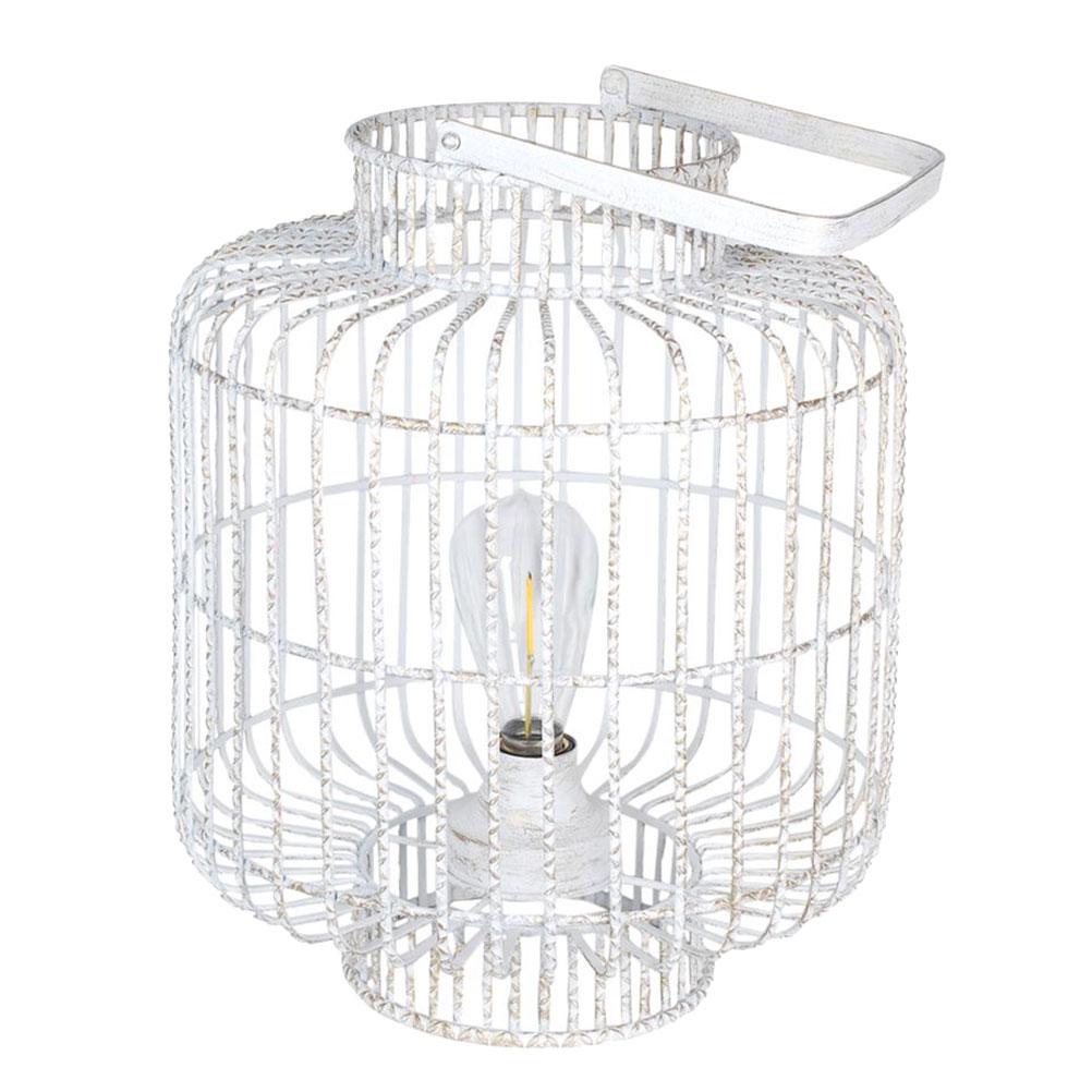Lampe blanche en métal patiné or transportable LED