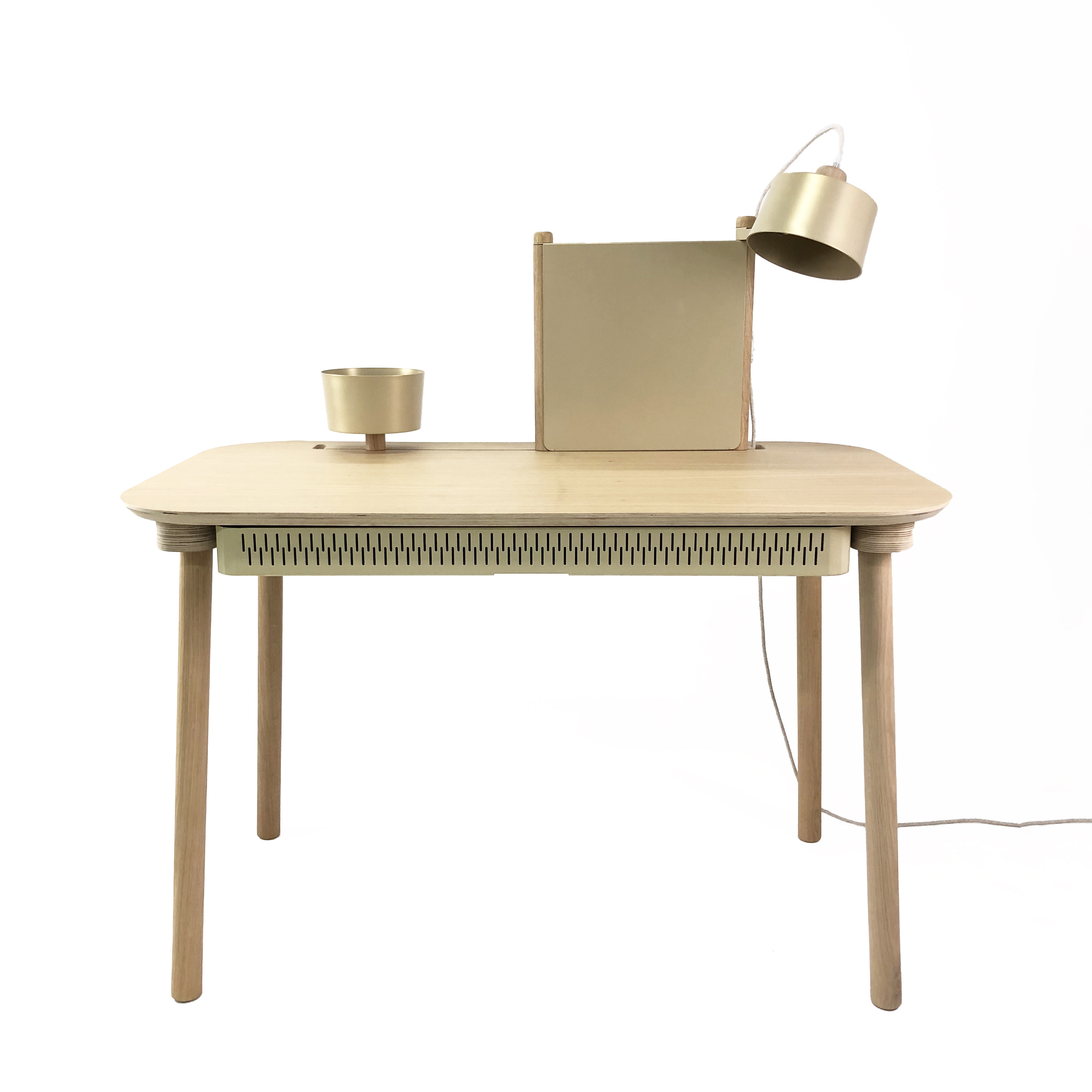 Bureau chêne avec tiroir, bol, lampe et séparateur laiton