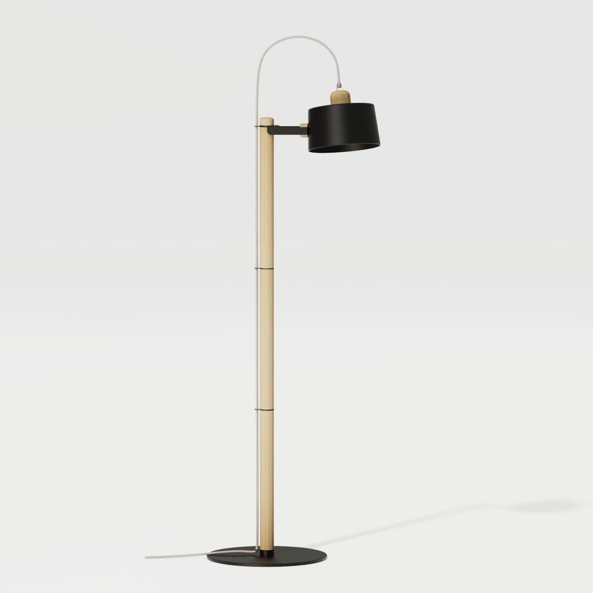 Luminaire à poser chêne et métal noir