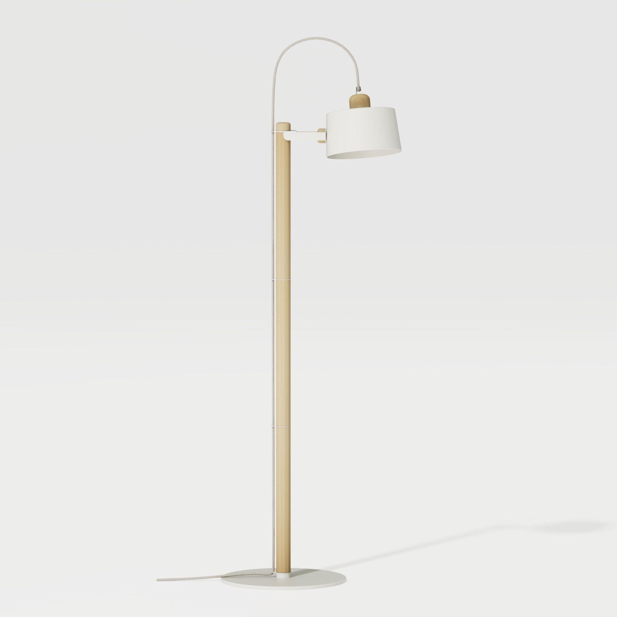 Luminaire à poser chêne et métal blanc