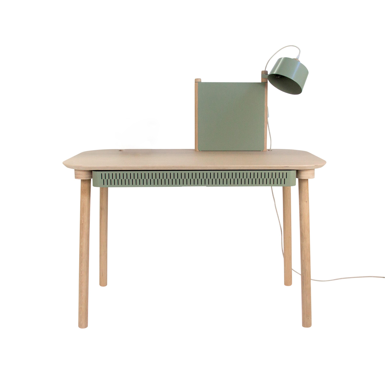 Bureau avec tiroir, séparateur et lampe en chêne et métal vert