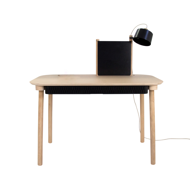 Bureau avec tiroir, séparateur et lampe en chêne et métal noir