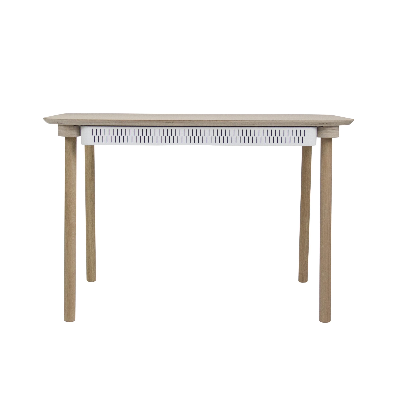 Table de repas avec 2 tiroirs en chêne et métal blanc