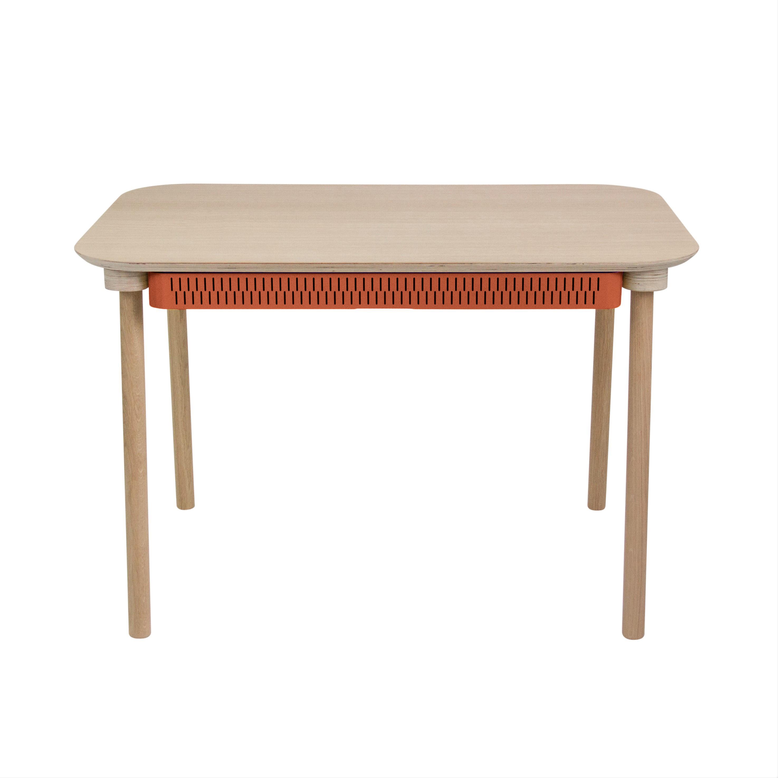 Table de repas avec tiroir en chêne et métal terracotta