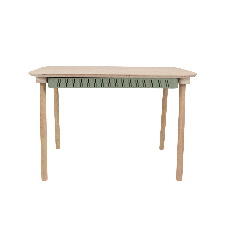 Table de repas avec 2 tiroirs en chêne et métal vert