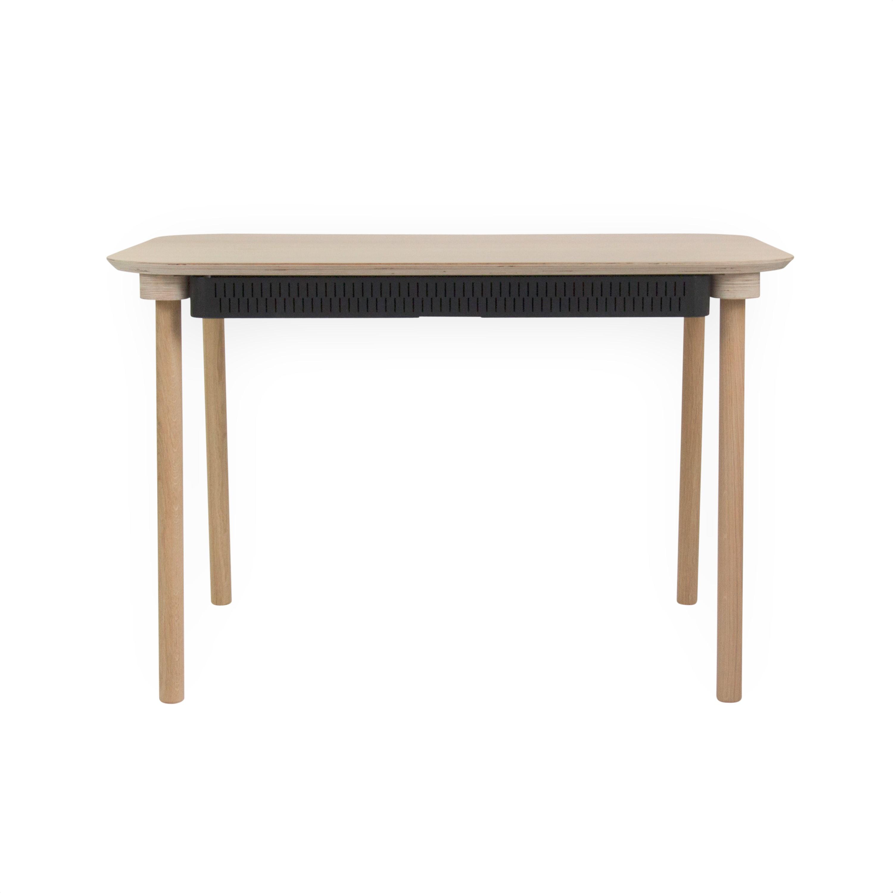 Table de repas avec tiroir en chêne et métal noir