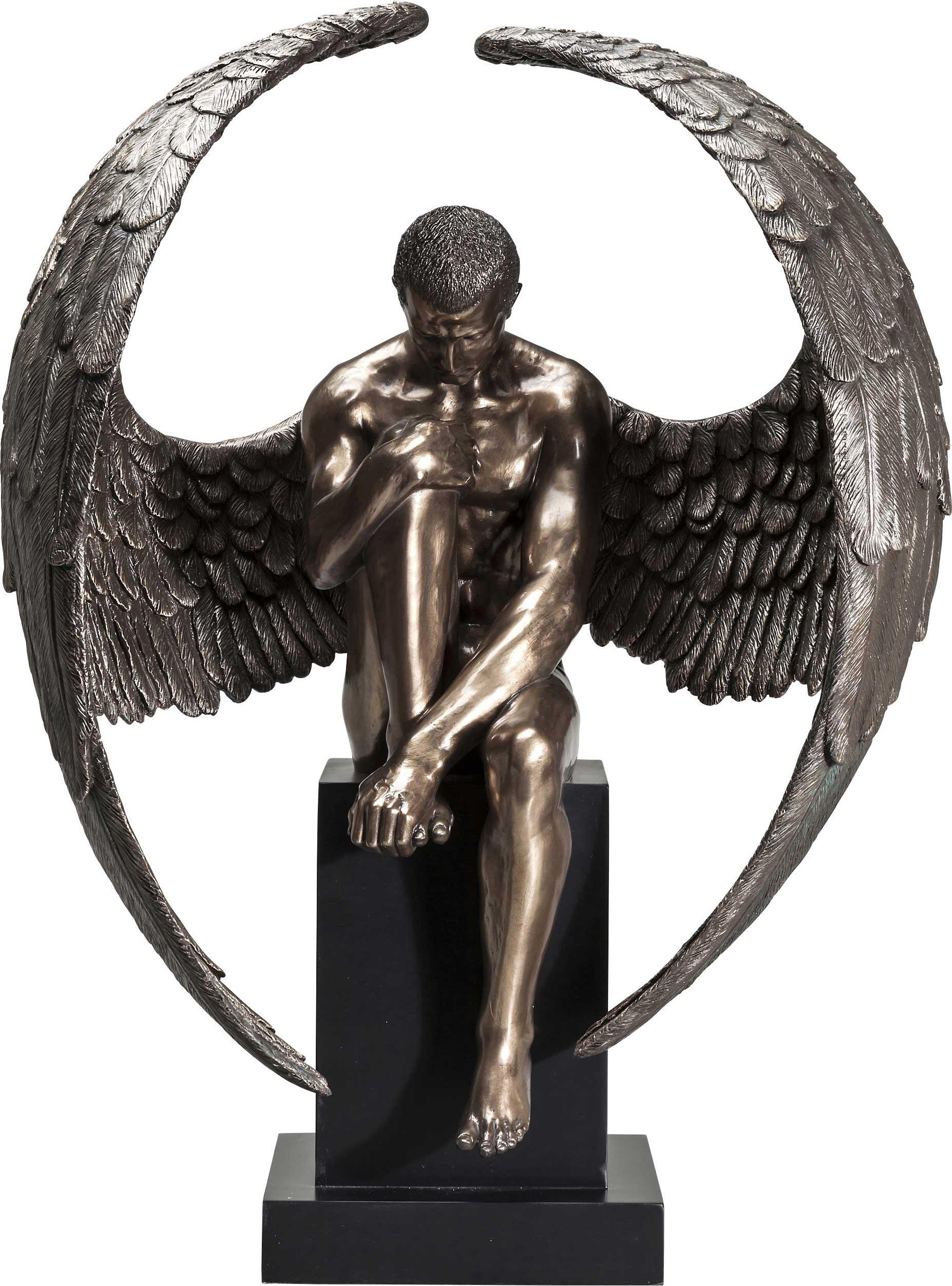 Statue ange assis en bronze et polyrésine H63
