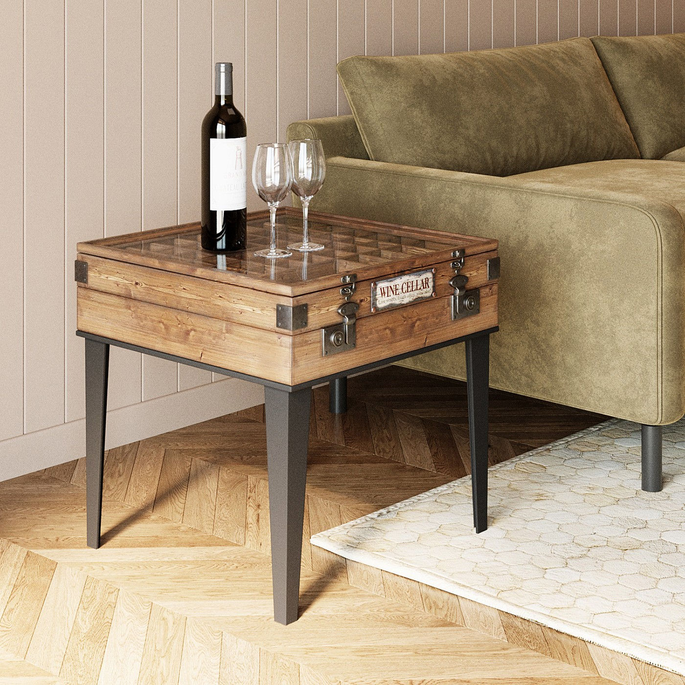 Table d'appoint carrée en sapin et acier