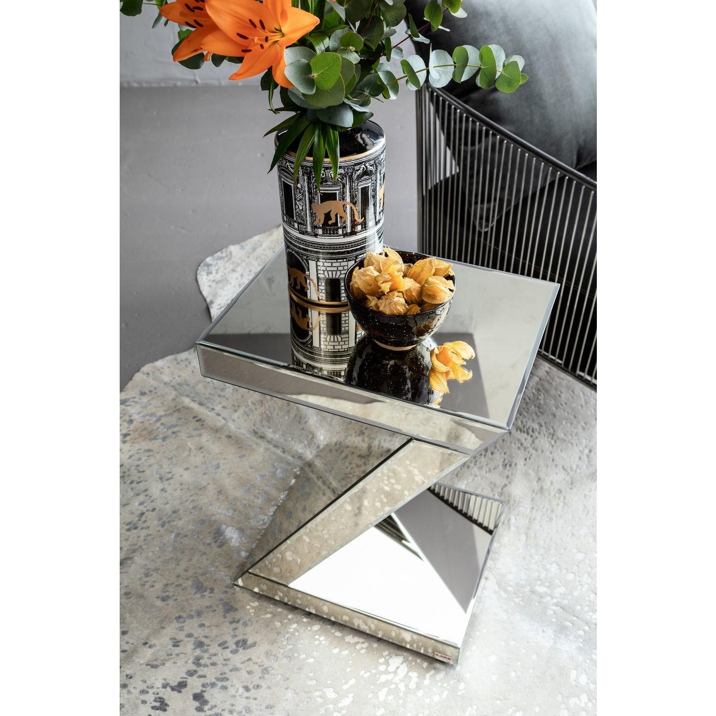Table d'appoint en verre miroir