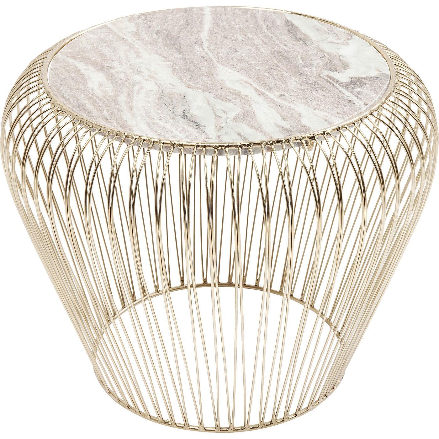 Table d'appoint ronde en marbre gris et acier doré