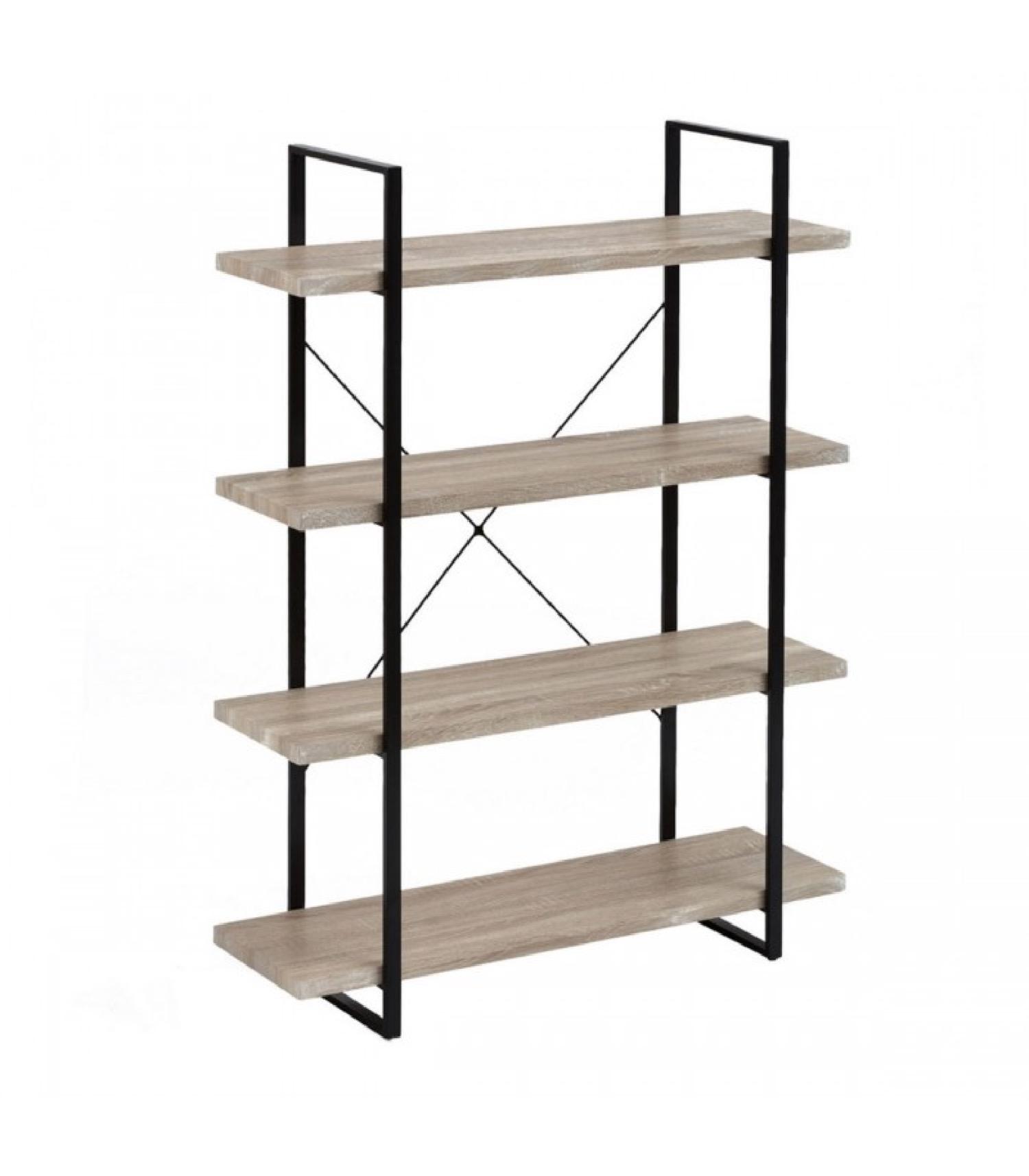 Étagère à poser en métal et PVC motif bois 4 étages