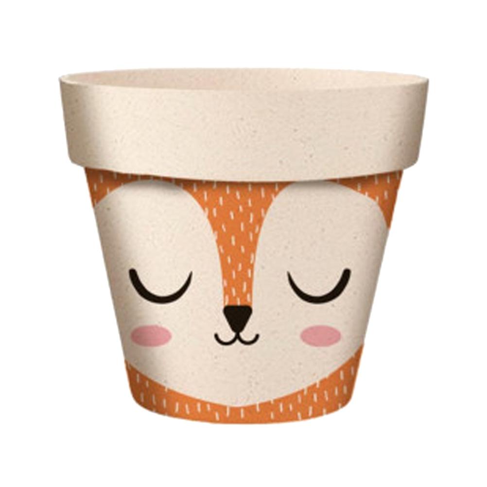 Cache pot de fleurs renard en bambou D9,5cm