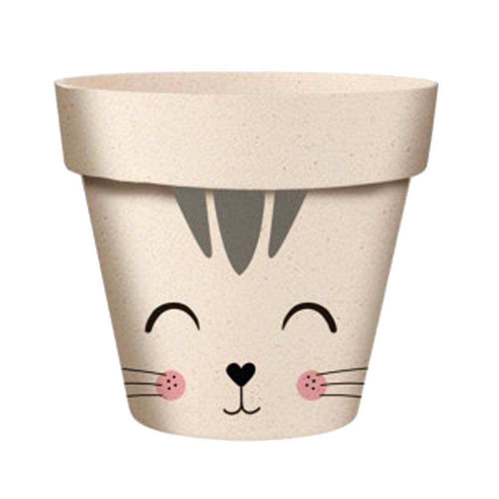 Cache pot de fleurs chat en bambou D9,5cm
