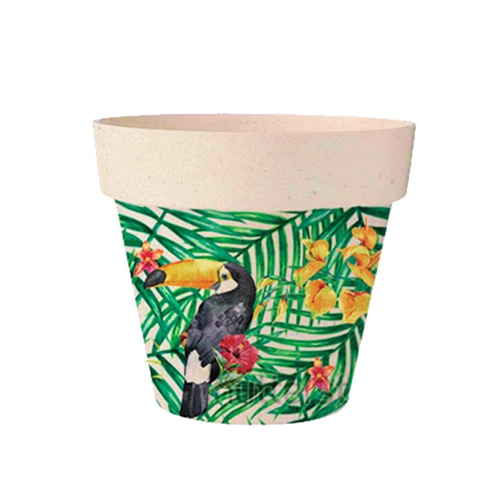 Cache pot de fleurs toucan en bambou D13,8cm