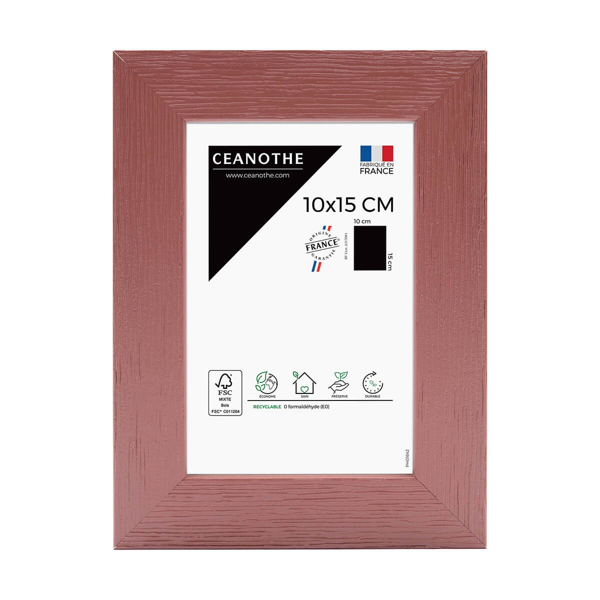 Cadre photo bois reconstitué Terracotta 10x15 cm