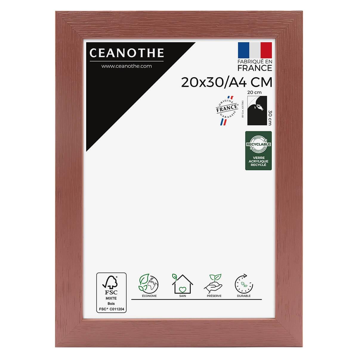 Cadre photo bois reconstitué Terracotta 20x30 A4 cm