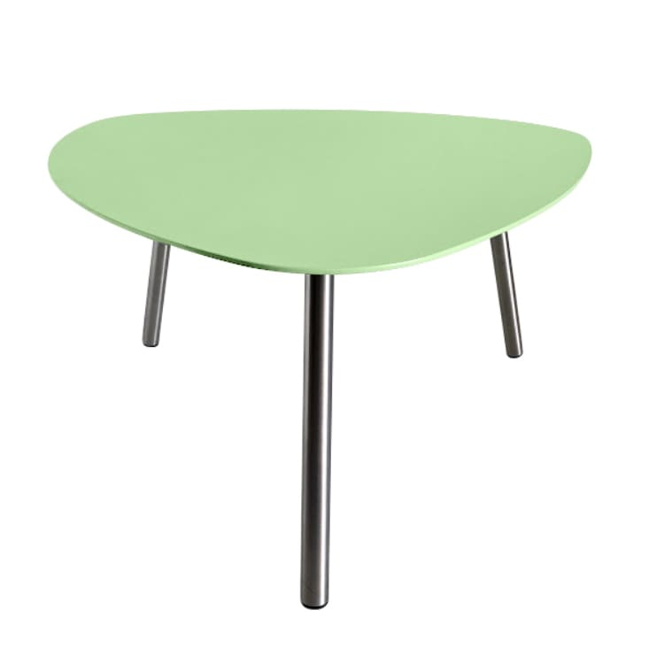 Table basse de jardin aluminium vert pieds inox brossé D74cm