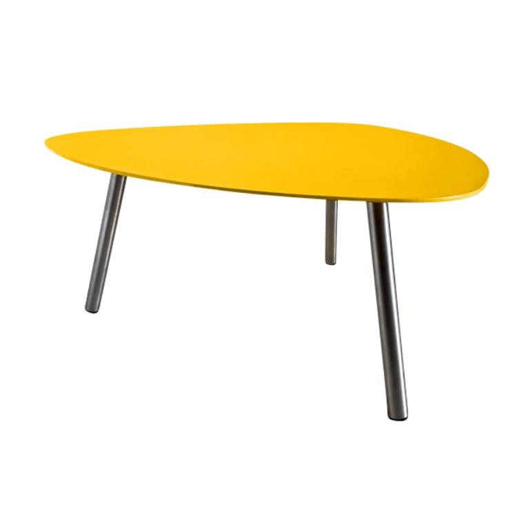 Table basse de jardin aluminium jaune pieds inox brossé D74cm