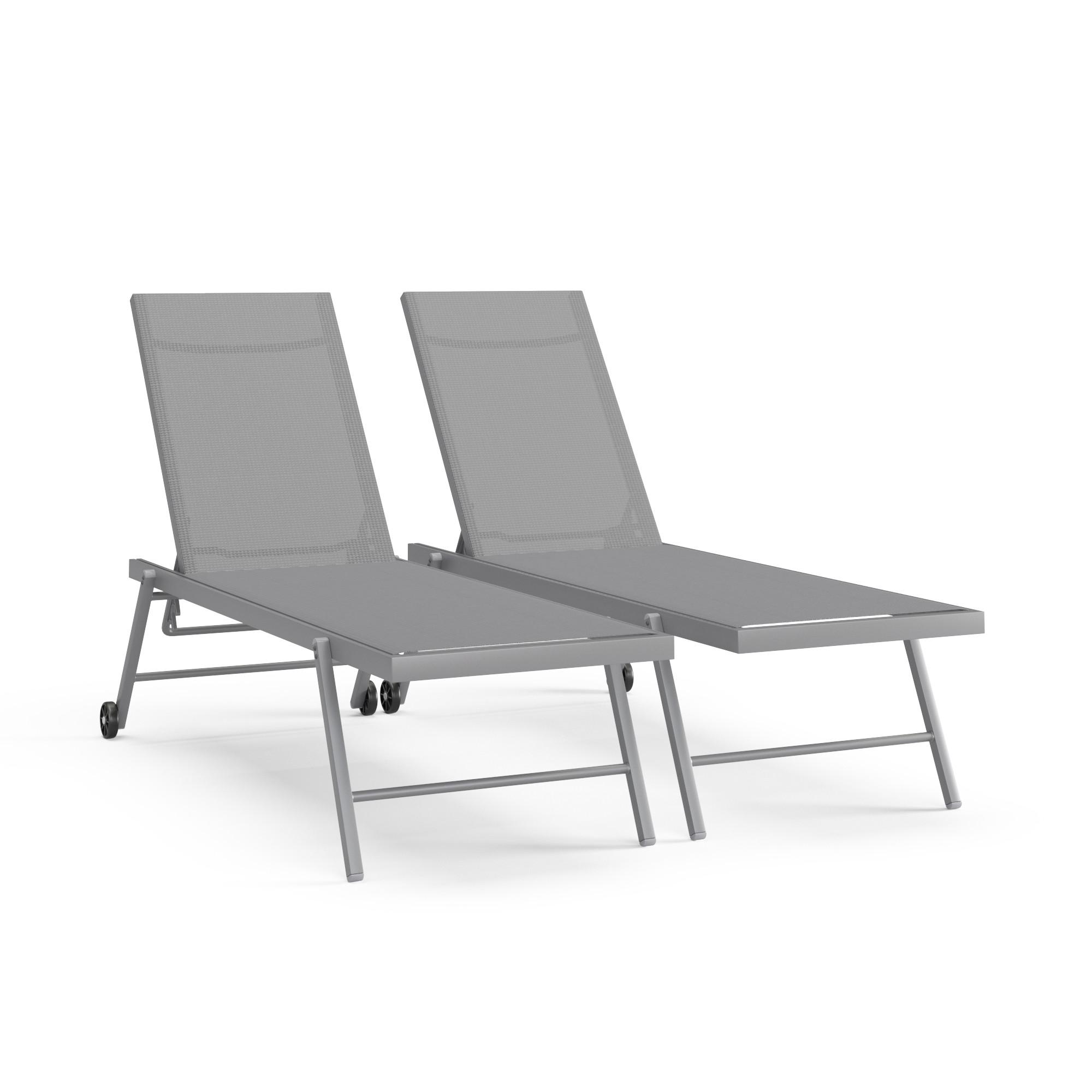 ALIA - Transat inclinable en textilène argenté et gris clair
