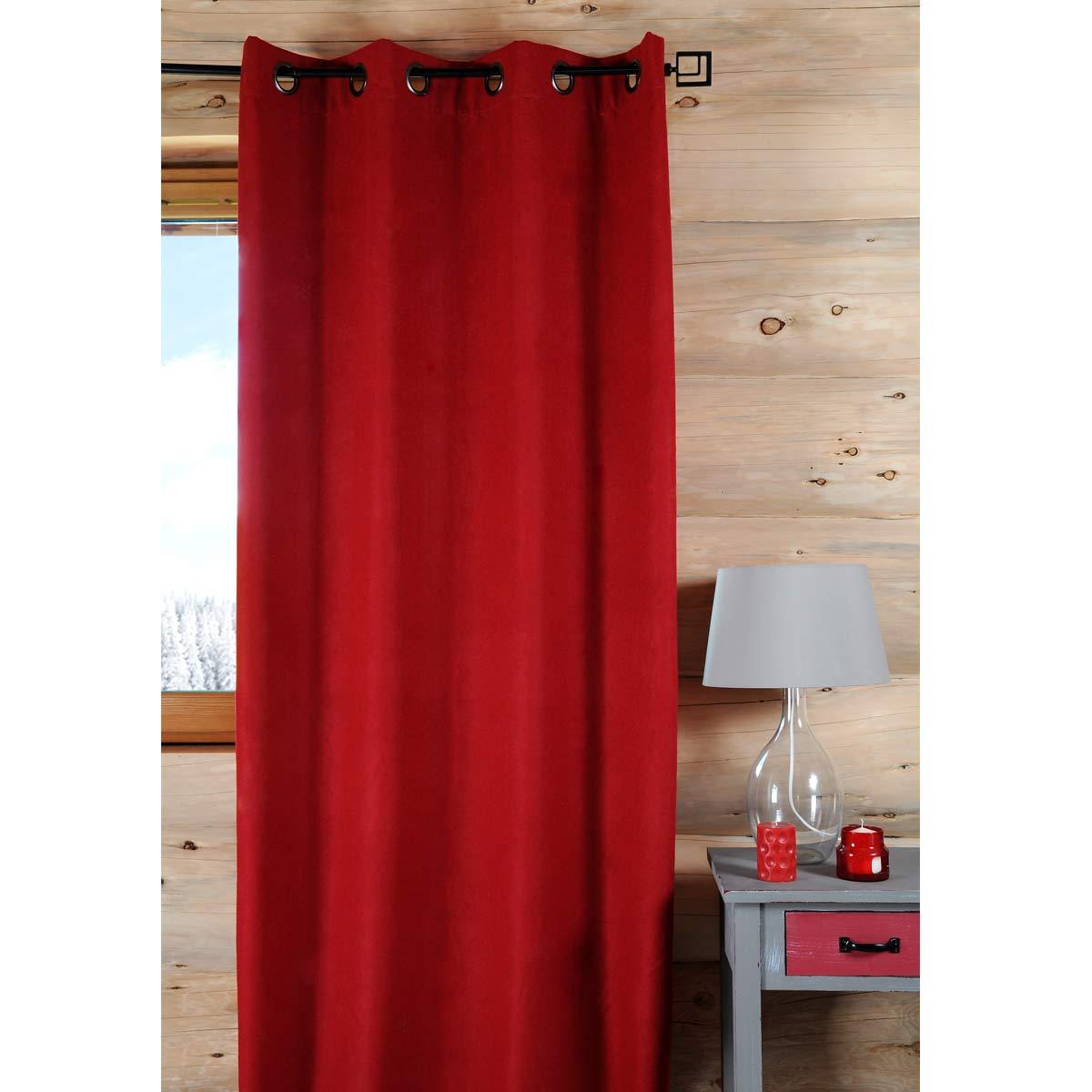 Rideau uni à l'aspect laineux polyester rouge 260x135