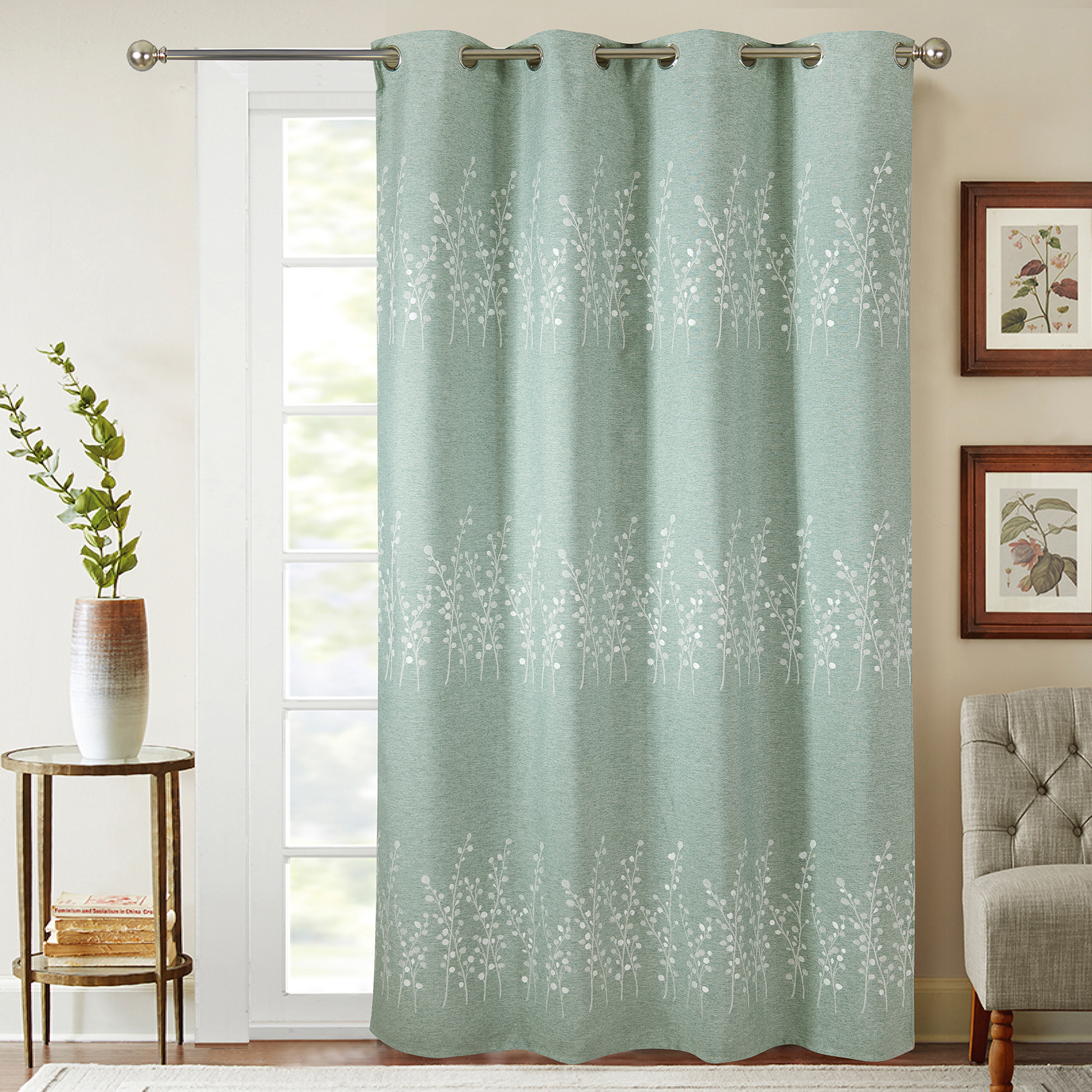 Rideaux occultant avec broderies végétales polyester vert 260x140