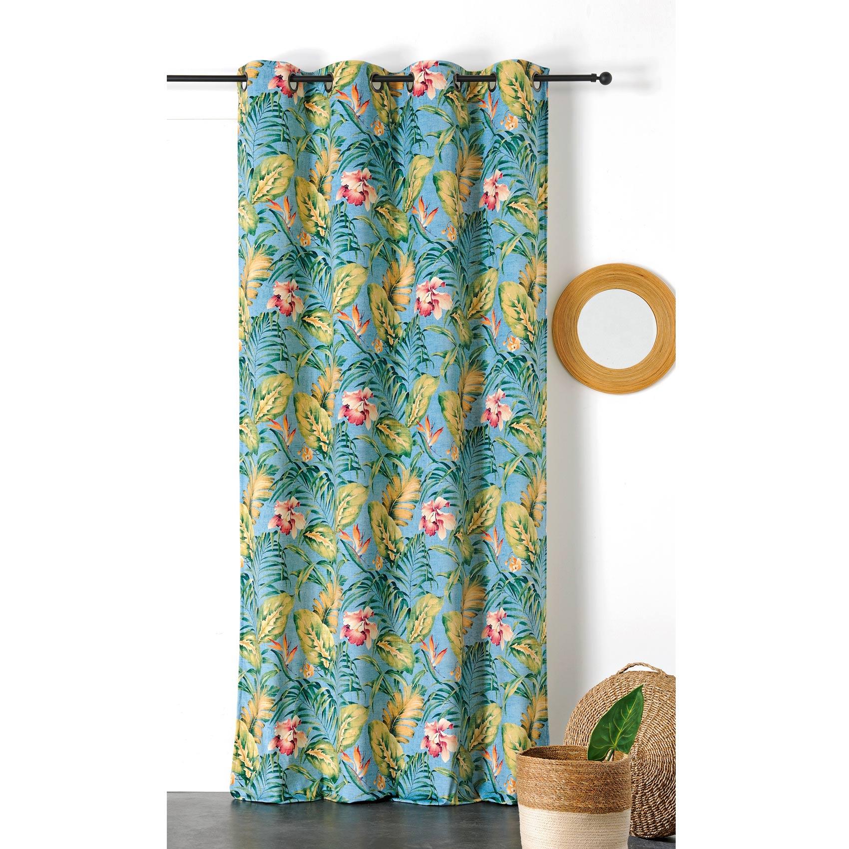 Rideau tamisant hibiscus polyester bleu 240x145