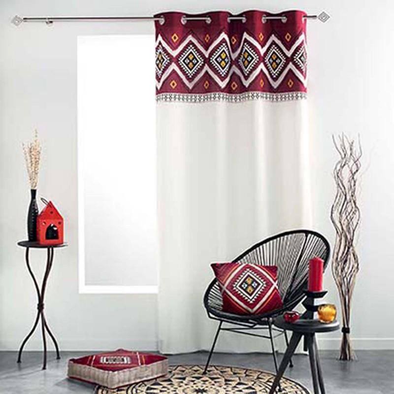 Rideau avec motif néo berbère coton multicolors 240x140