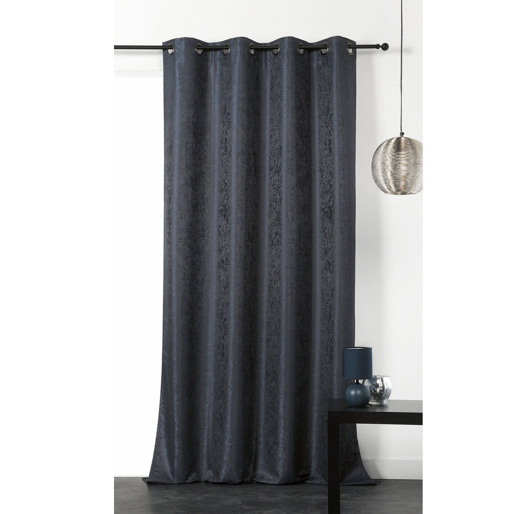 Rideau occultant nova polyester gris anthracite 240x140