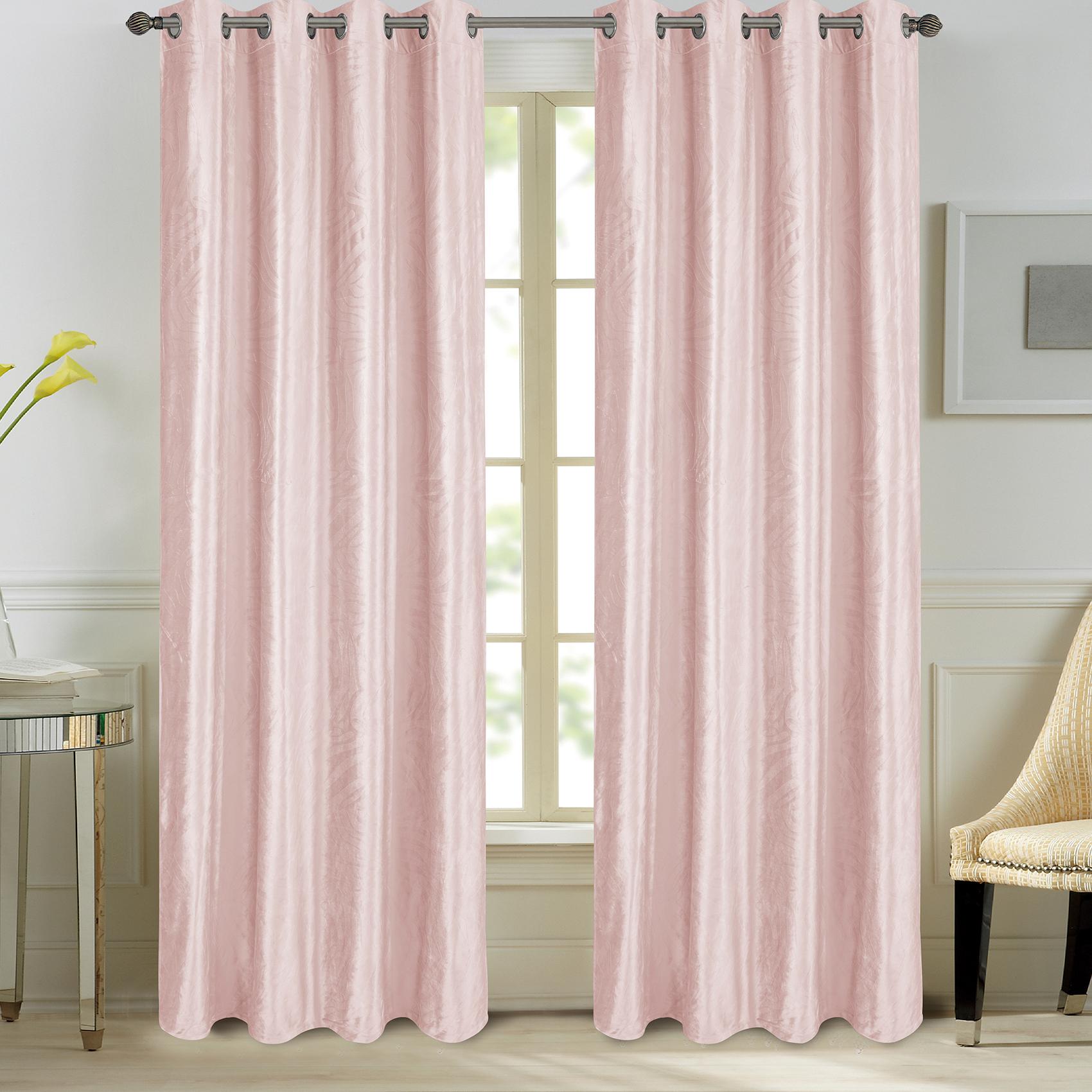 Paire de rideaux en velours et motifs frappés velours rose 260x140