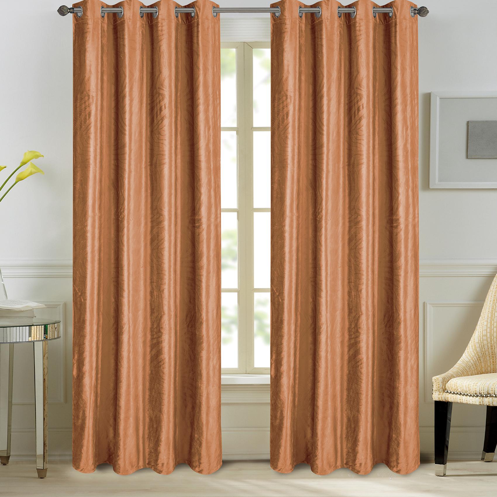 Paire de rideaux en velours et motifs frappés velours brique 260x140