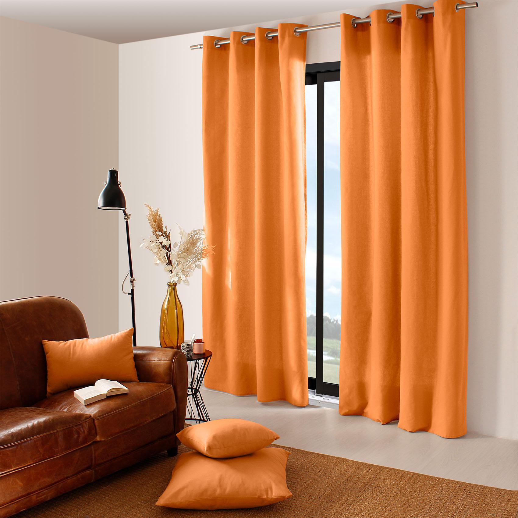 Rideau coloré en pur coton 8 œillets coton abricot 240x135