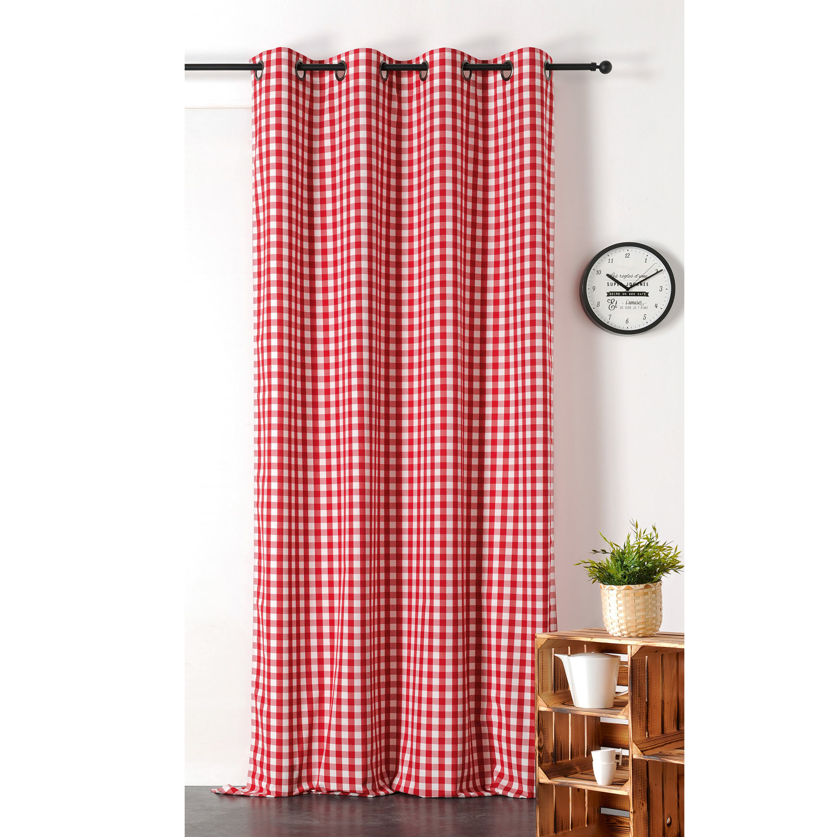 Rideau tamisant cuistot polyester rouge 240x145