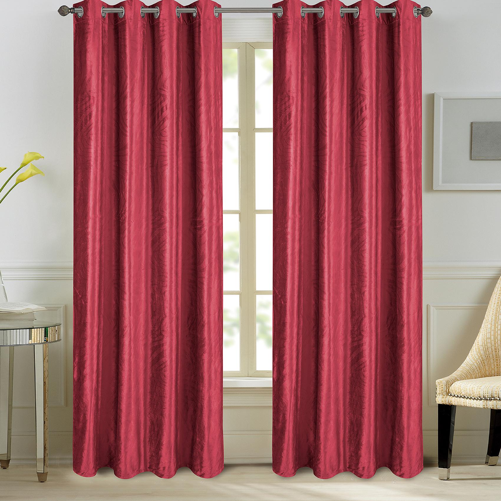 Paire de rideaux en velours et motifs frappés velours bordeaux 260x140