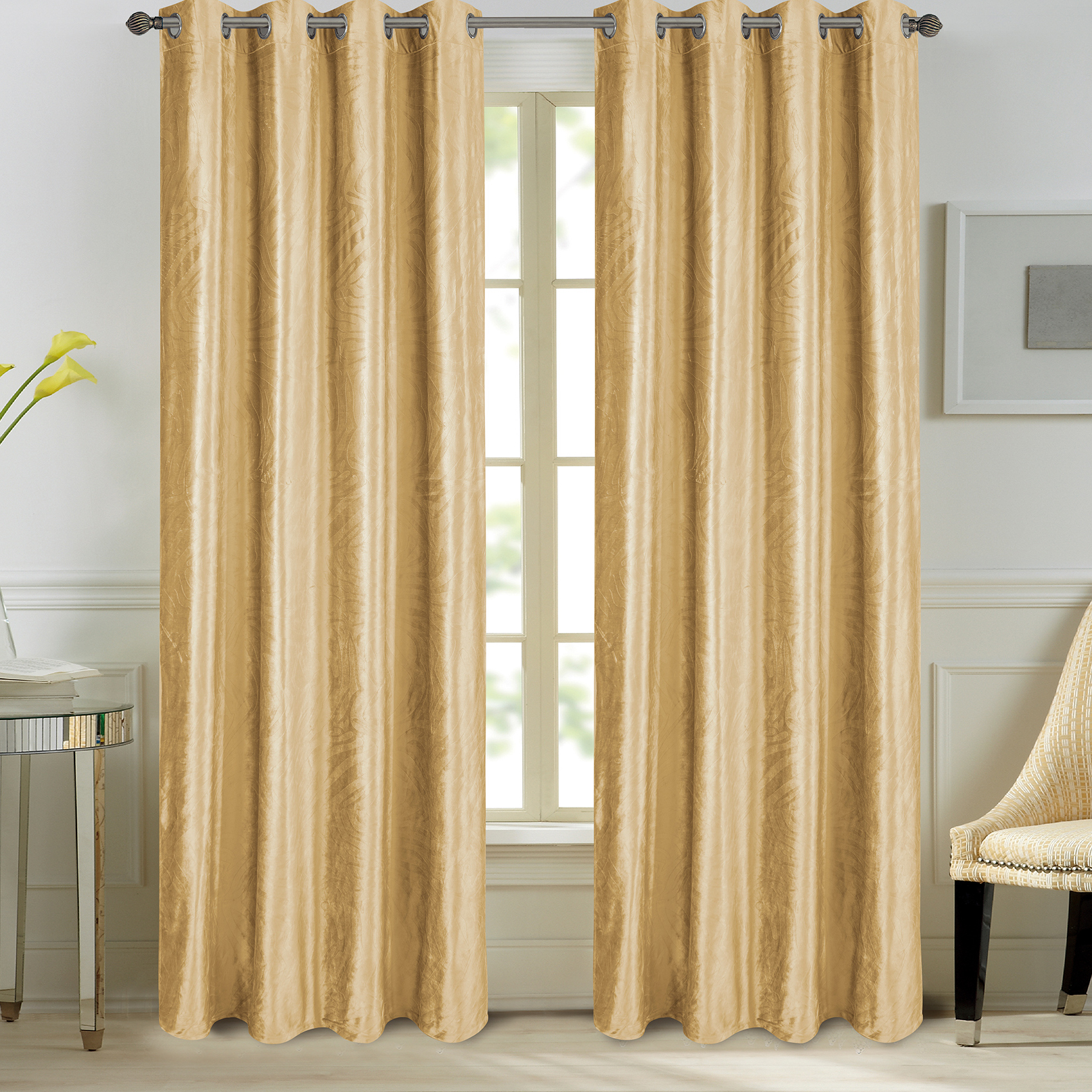 Paire de rideaux en velours et motifs frappés velours jaune 260x140