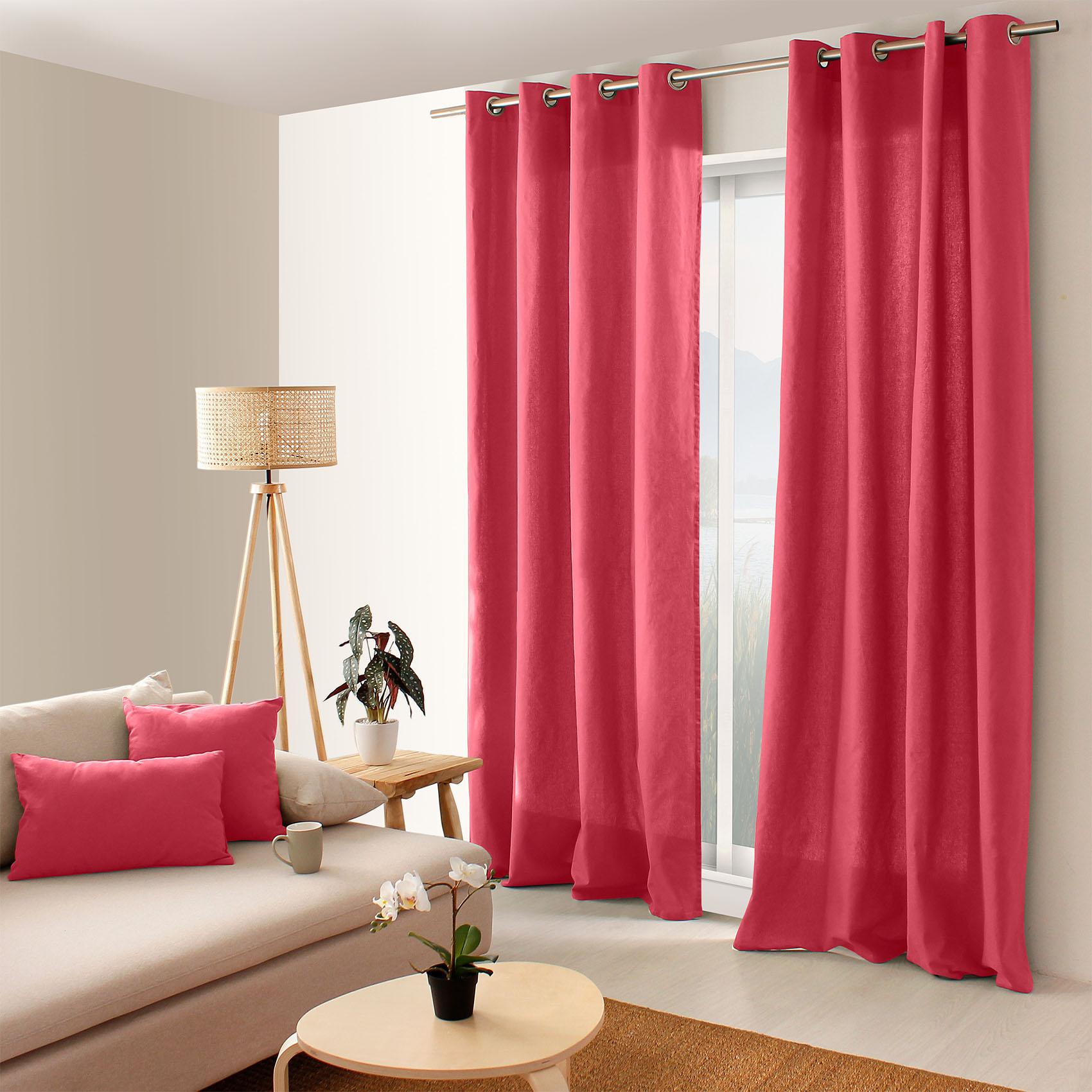 Rideau coloré en pur coton 8 œillets coton blush 240x135
