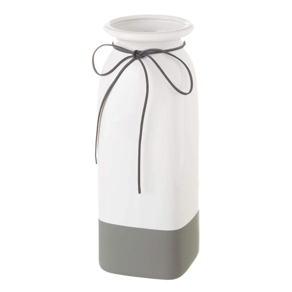 Vase blanc et gris H30cm