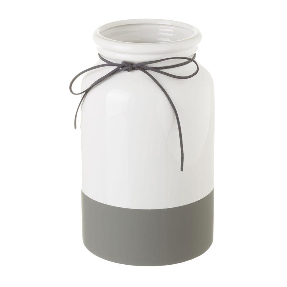Vase blanc et gris H25cm