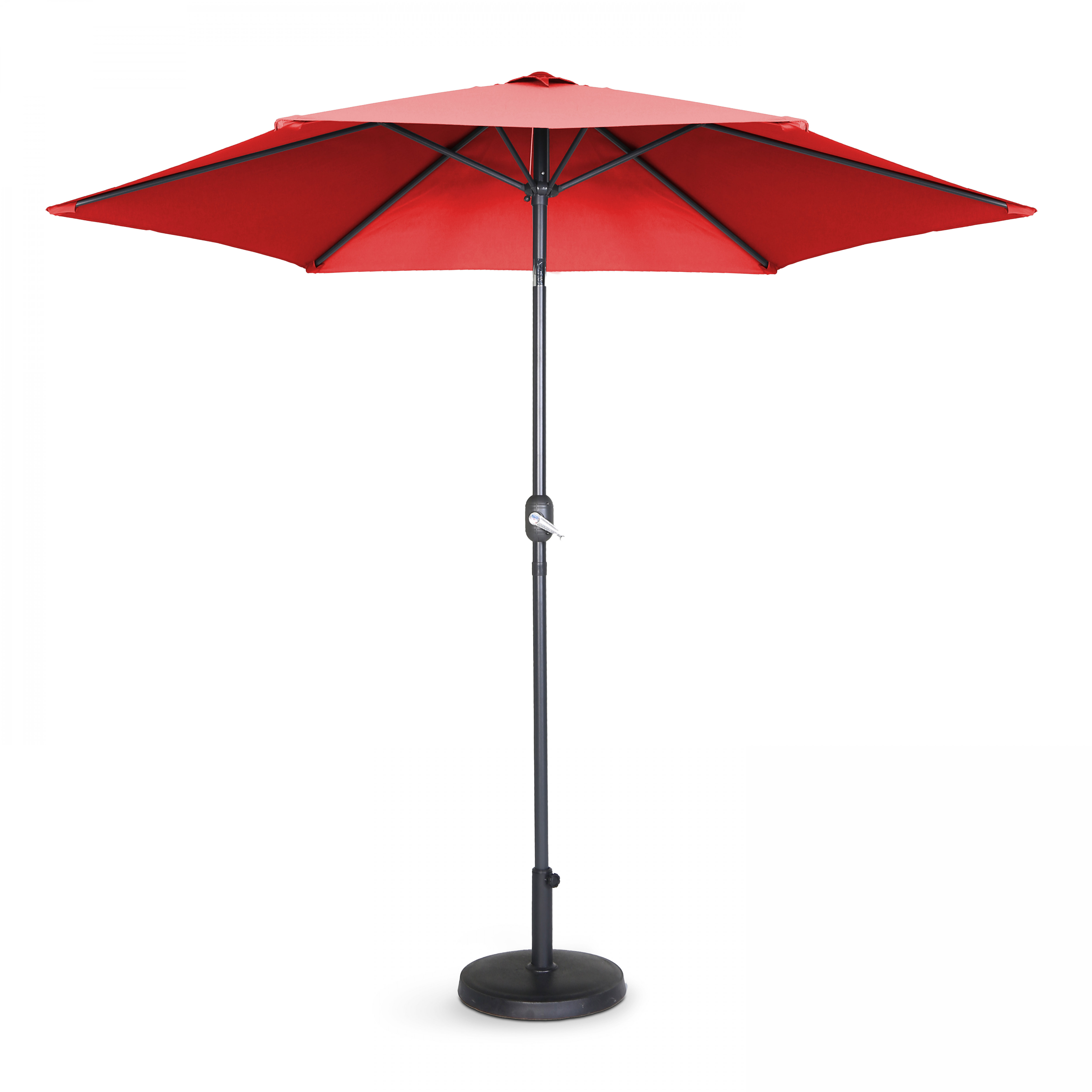 Parasol droit à manivelle inclinable  en aluminium rouge