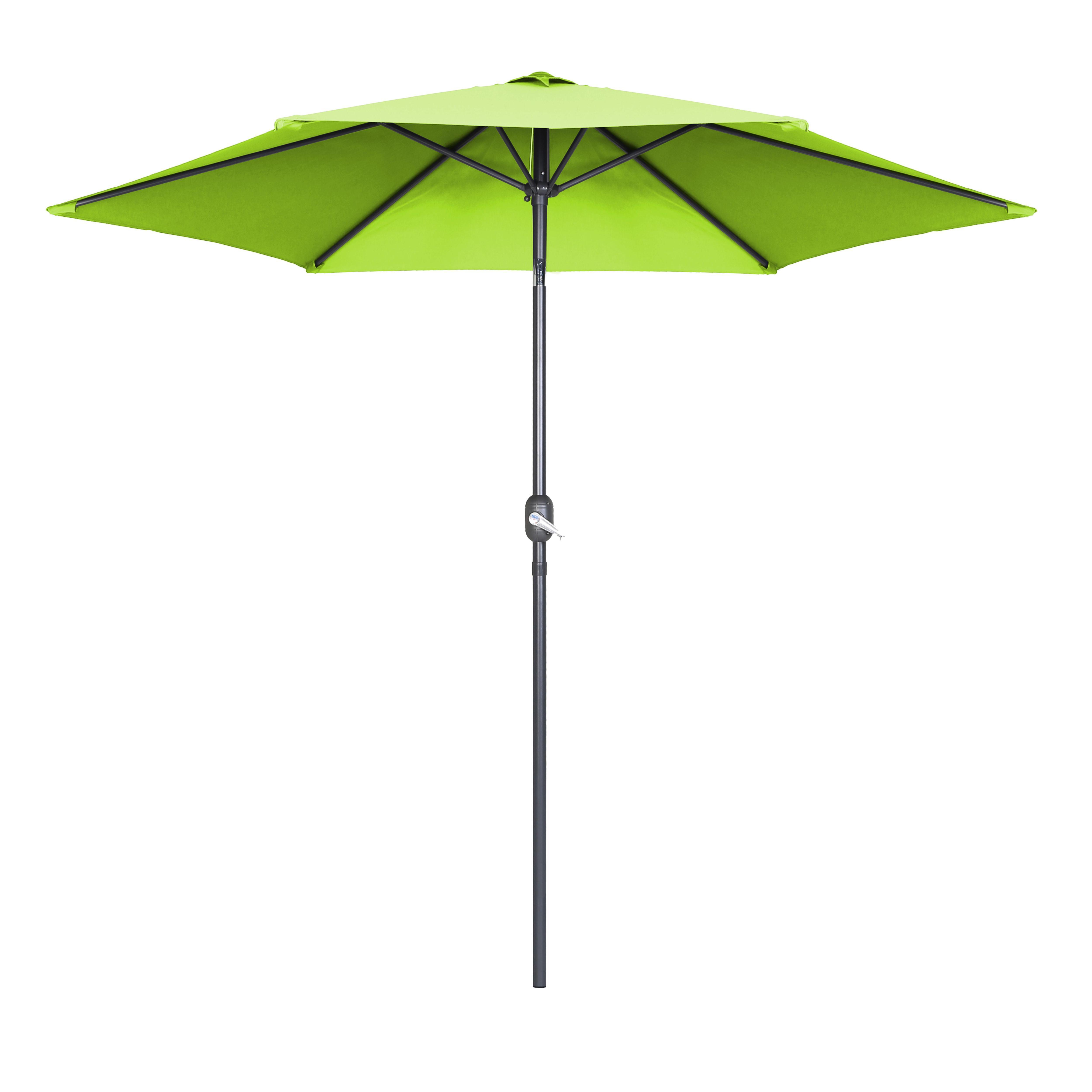 Parasol droit à manivelle inclinable  en aluminium vert