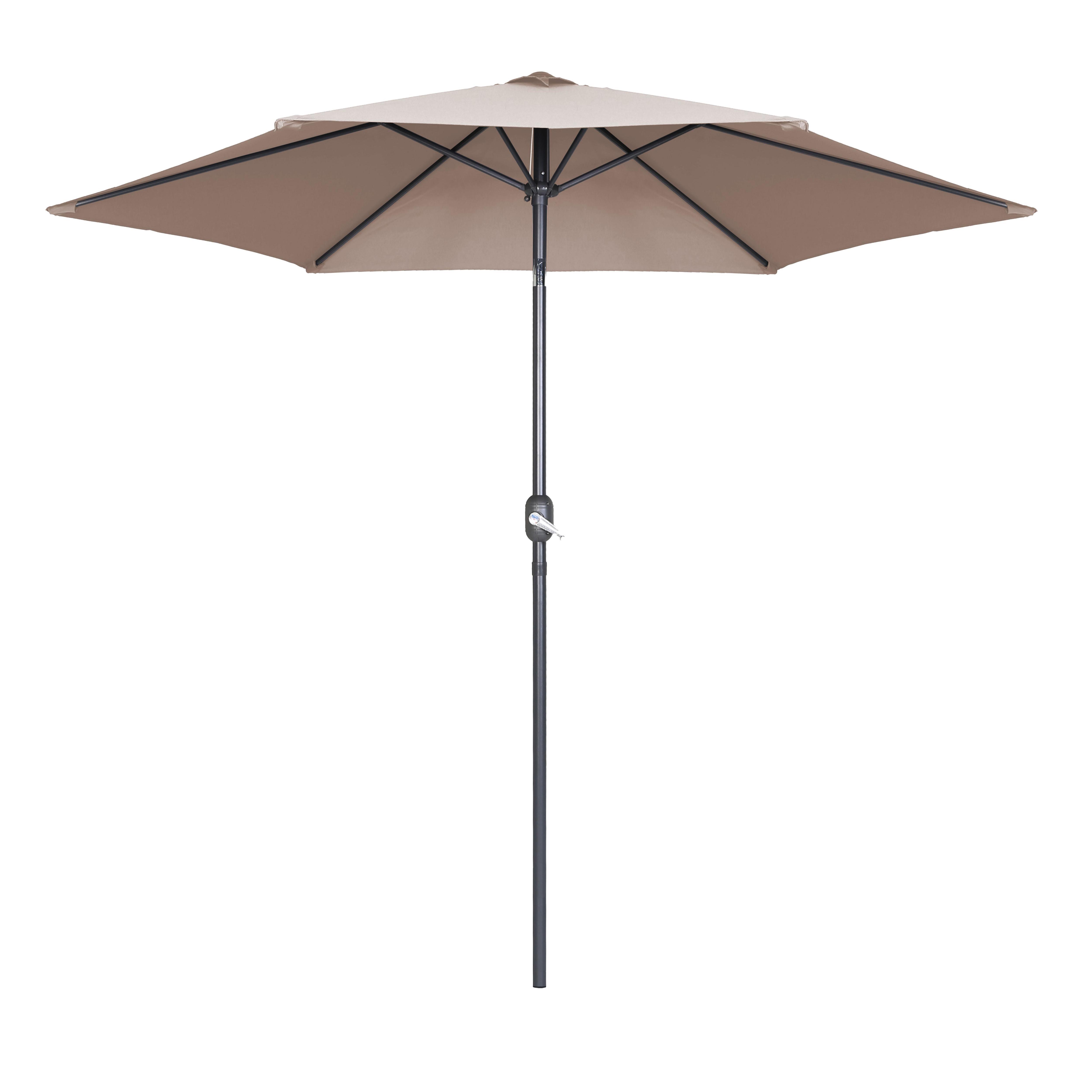 Parasol droit à manivelle inclinable  en aluminium taupe