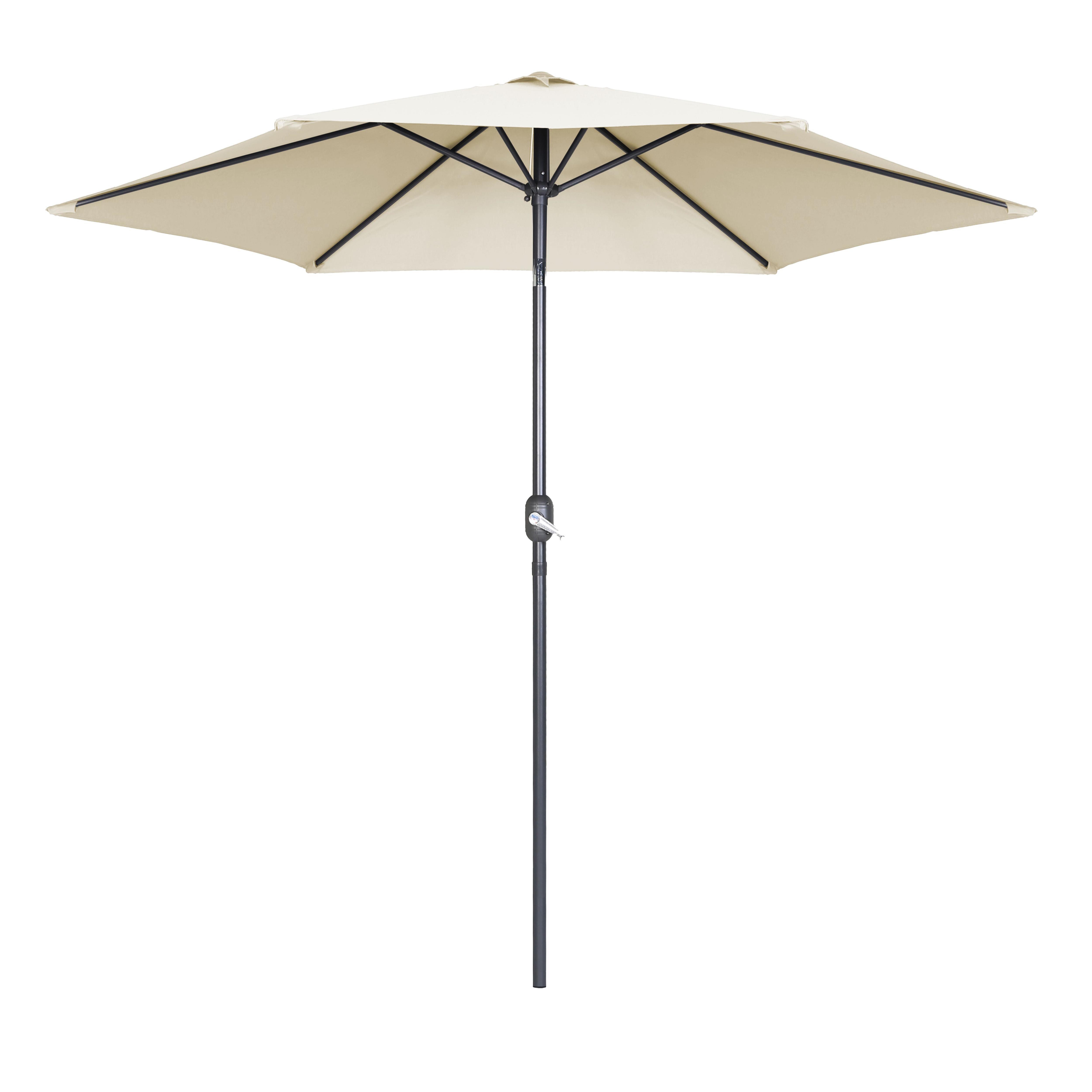 Parasol droit à manivelle inclinable  en aluminium écru