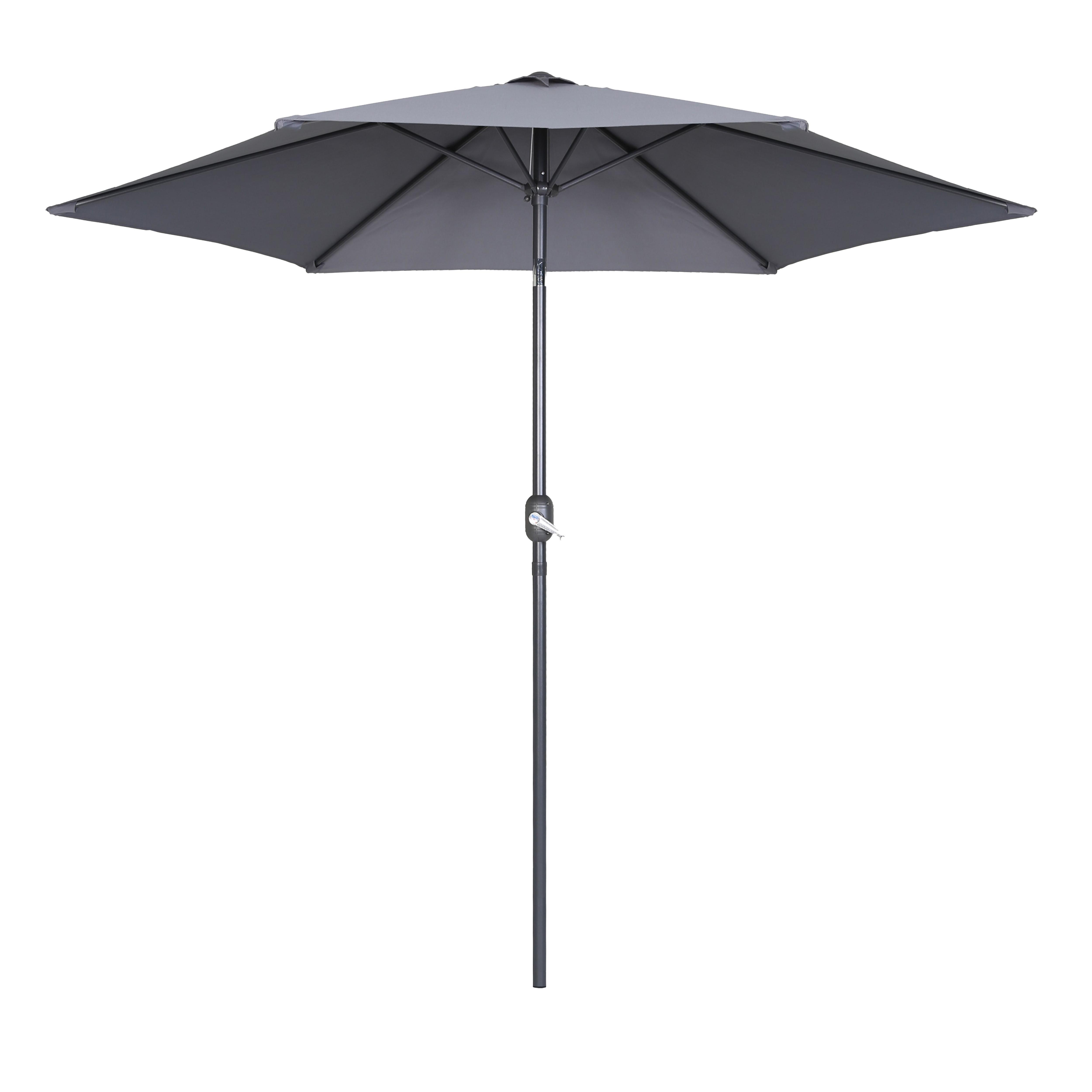 Parasol droit à manivelle inclinable  en aluminium gris