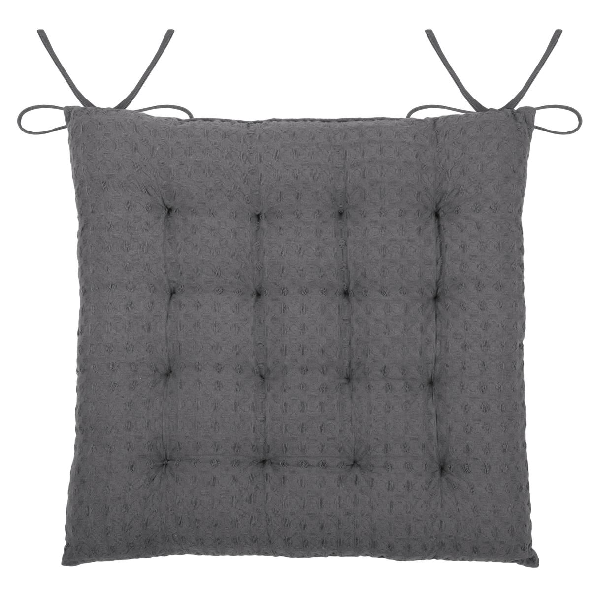 Galette de chaise matelassée en nid d'abeille coton souris 40x40