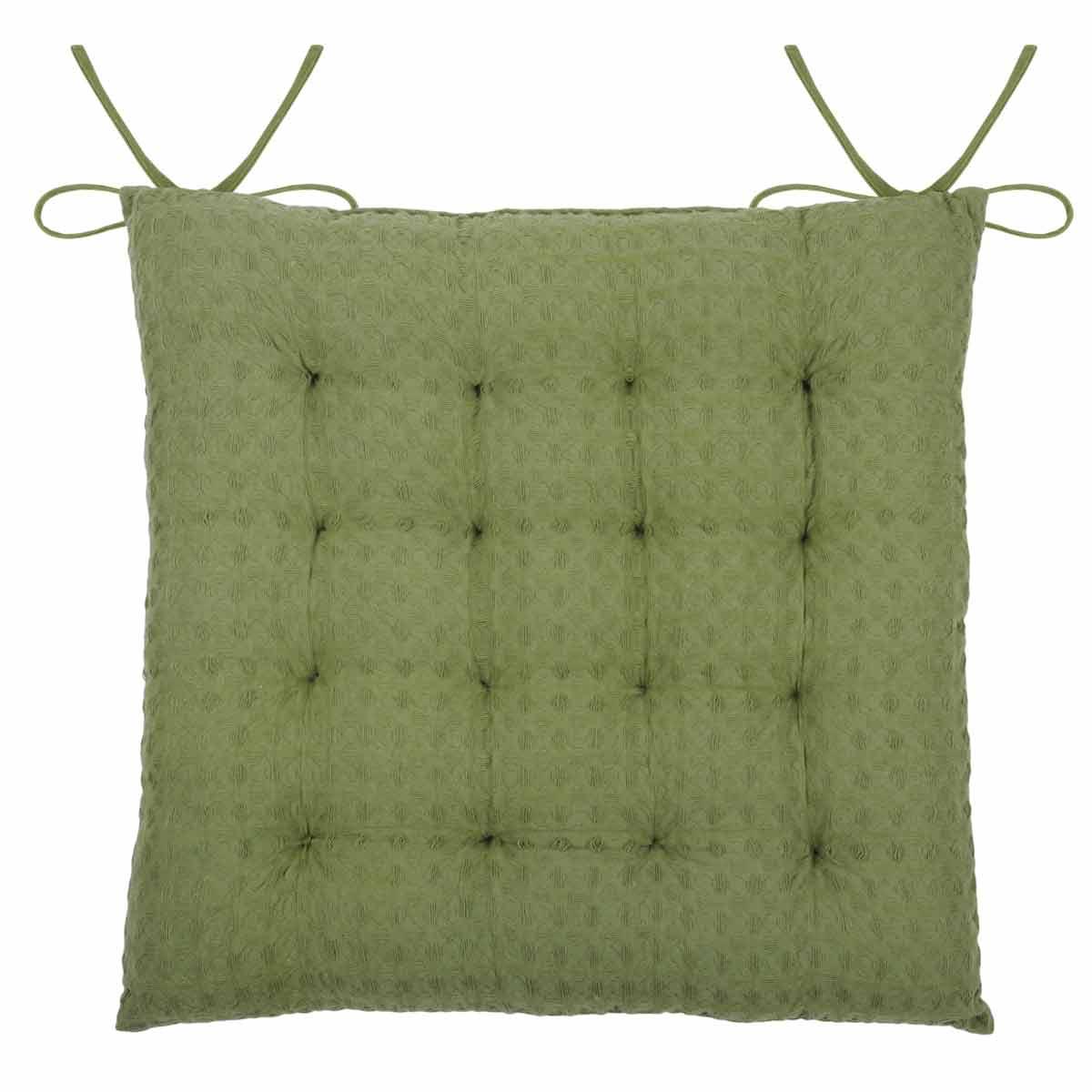 Galette de chaise matelassée en nid d'abeille coton kaki 40x40