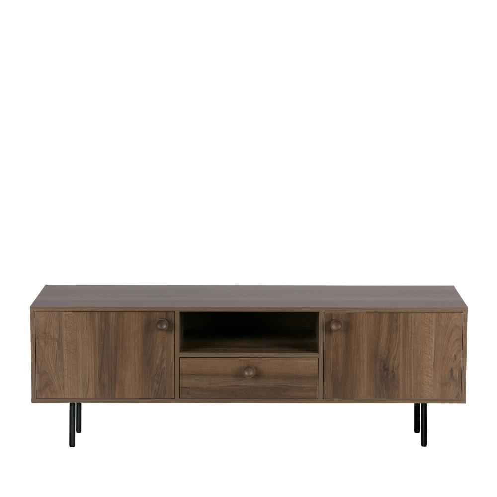 Meuble TV 2 portes 1 tiroir en bois noyer