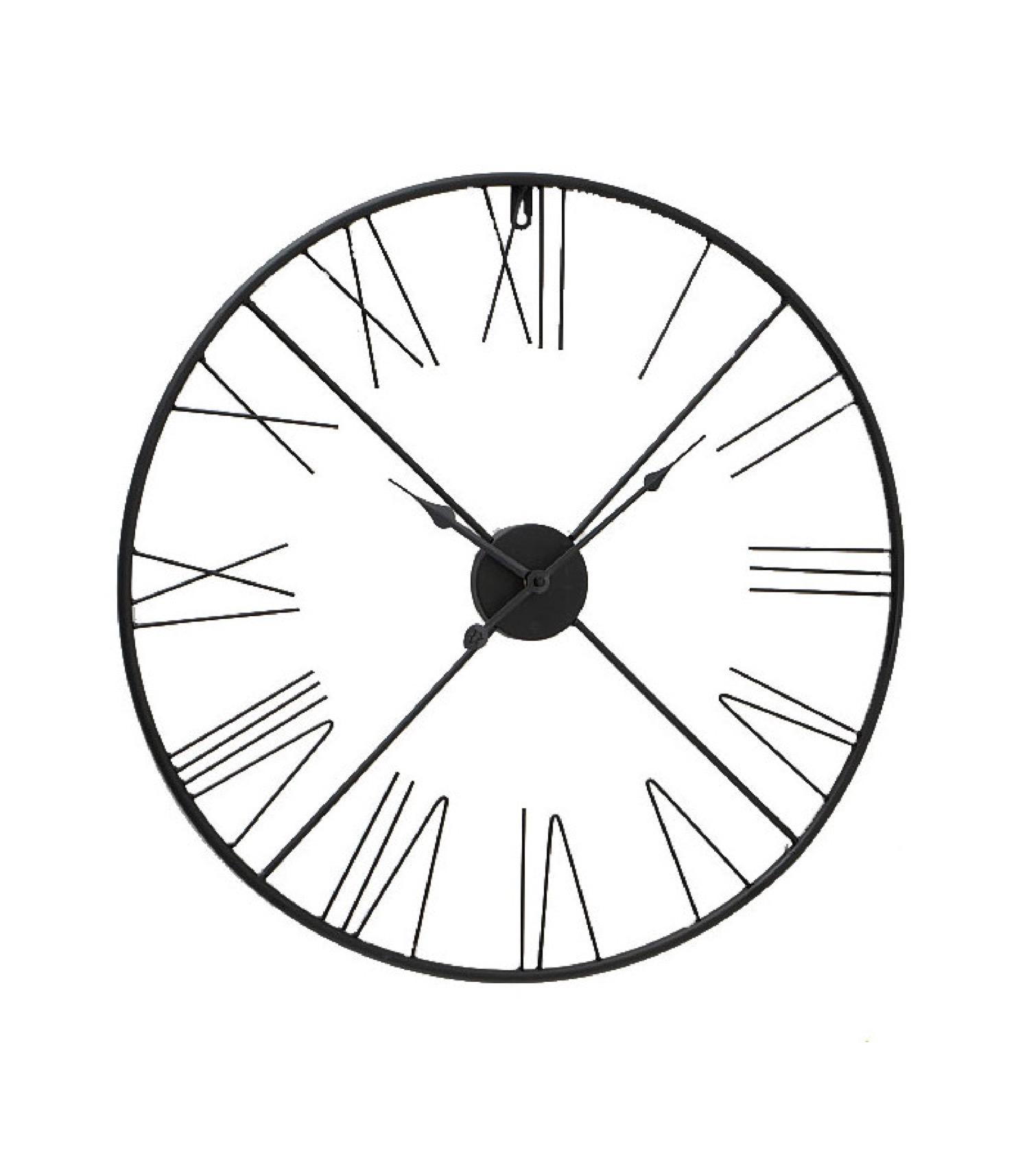 Horloge murale ronde chiffres romains métal noir