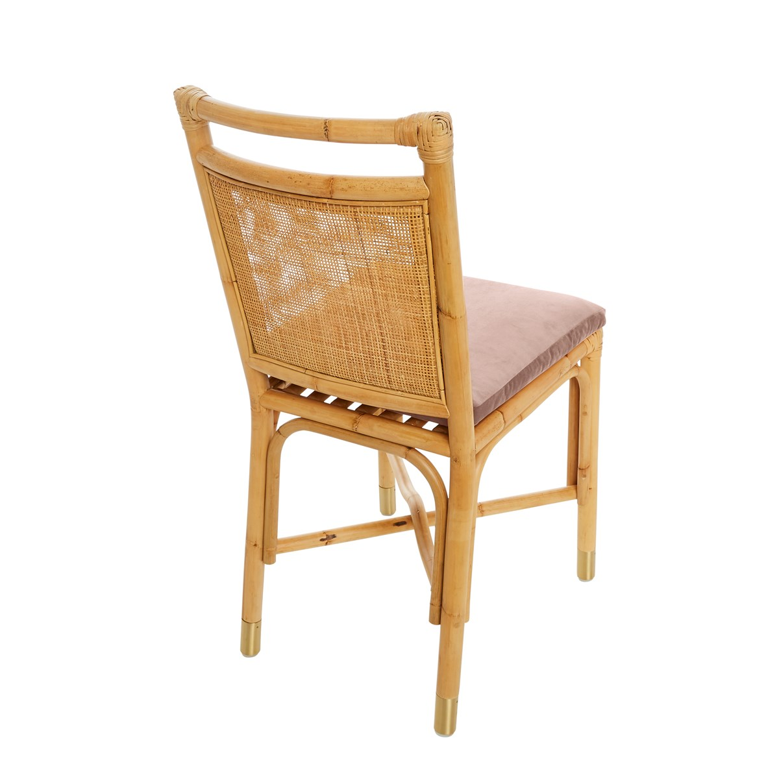 Chaise rotin et velours Rose pâle