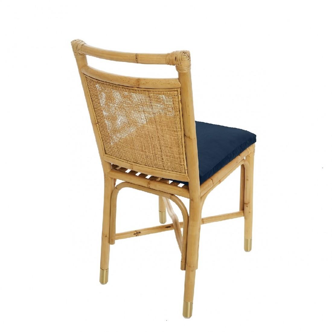 Chaise rotin et velours Bleu nuit