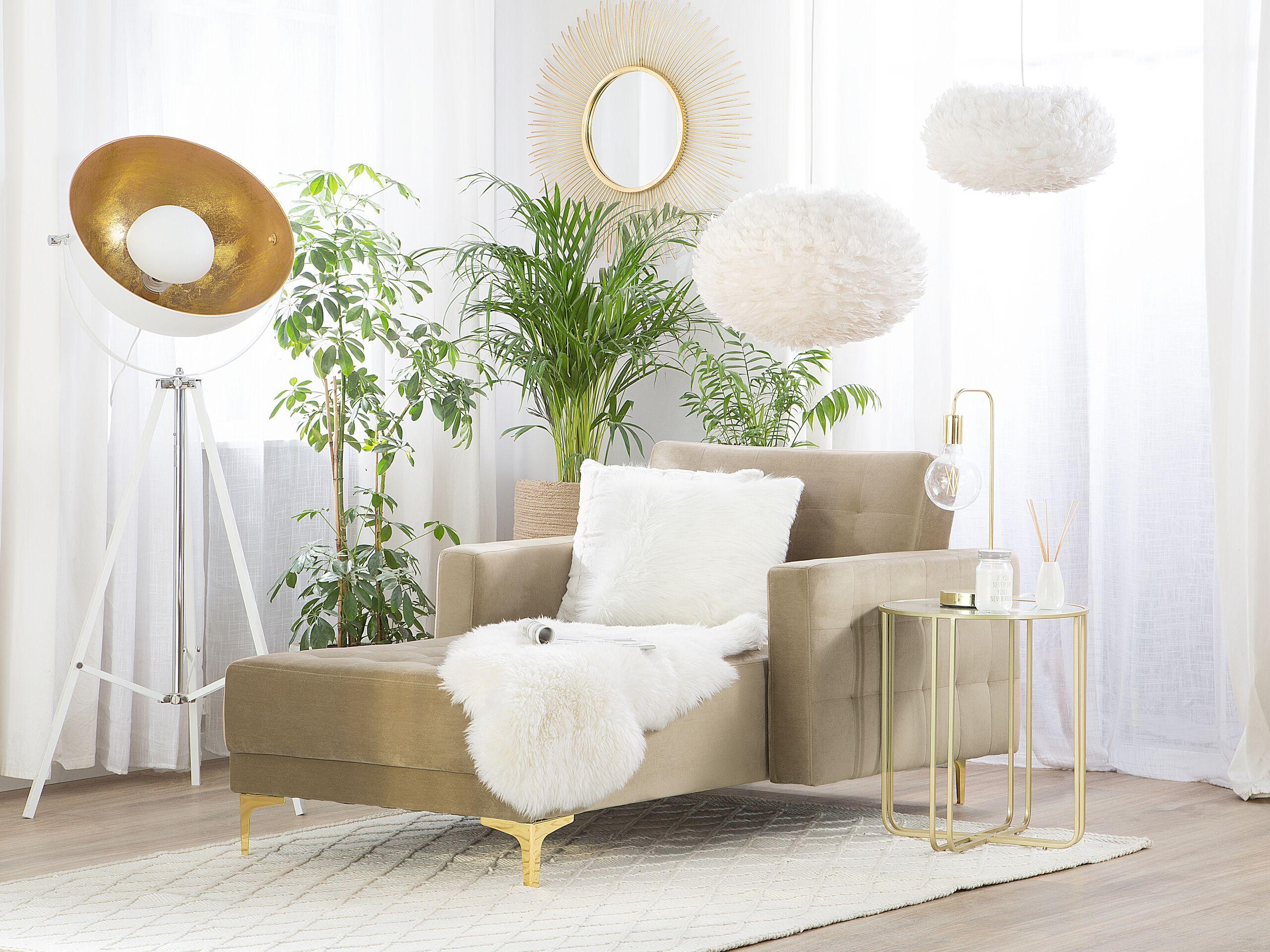 Chaise longue en velours beige clair