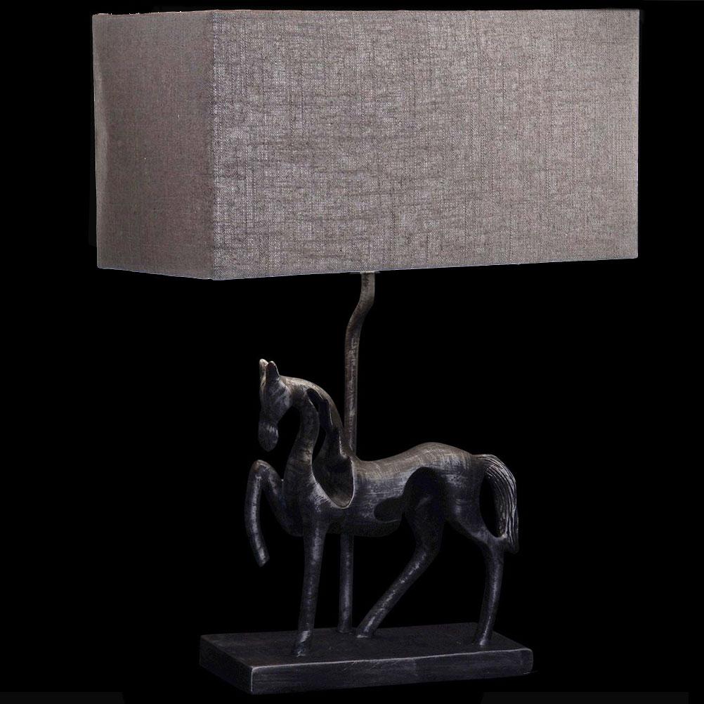 Lampe à poser cheval gris foncé H47cm
